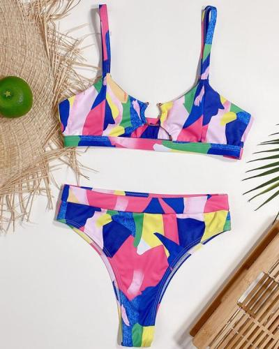 Abstract Patterns Print Bikini Swimsuit