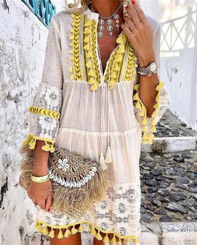 Bohemian Summer Holiday Daily  Mini Dresses