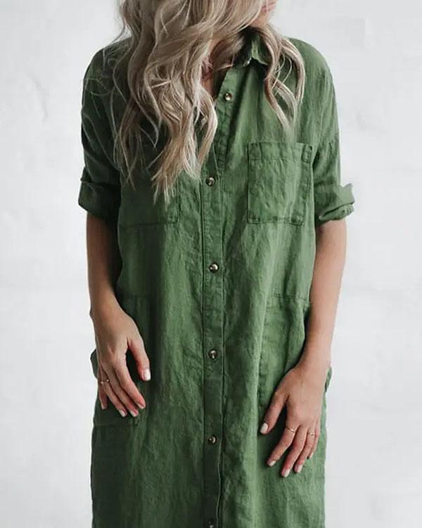 Casual Green Solid Linen Button up Shirt Dresses