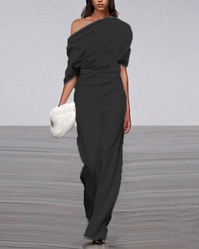 Women's Commuting Asymmetry Short Sleeve Pure Colour Jumpsuit