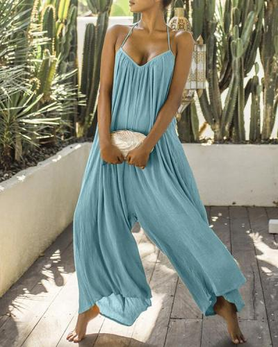 Women Sleeveless Wide Leg Solid Color Jumpsuit