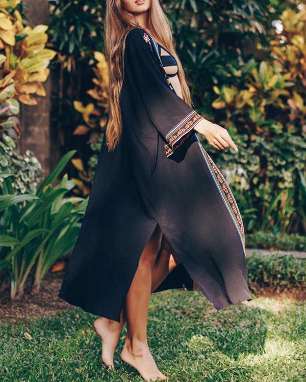 Womens Vintage Ethnic Embroidered 3/4 Sleeve Bathing Suit Cardigan