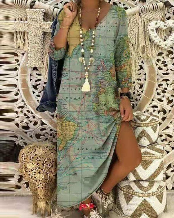 Loose Casual Earth Printed  Shift Dress