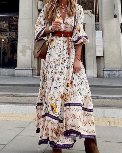 Bohemian Floral Elegant V Neck Printed Maxi Dress