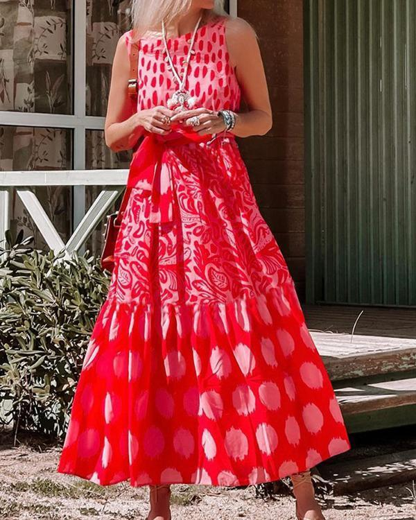 Fashion Red Print Sleeveless Maxi dress