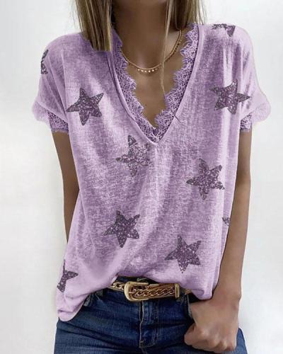 Womens Short Sleeve Lace Trim Star Print Tee Shirts