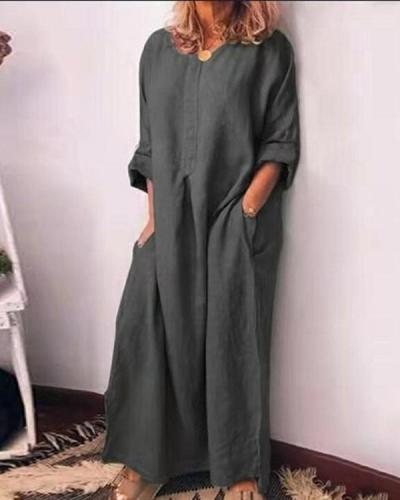 Solid Color Oversized Home Dress Casual Loose Cotton Linen Dress