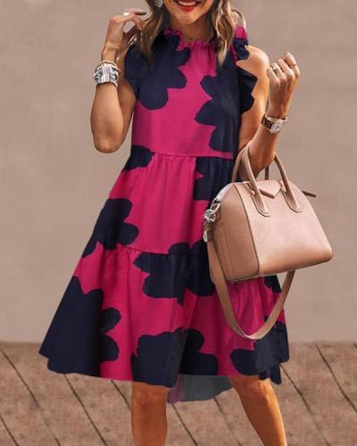 Chic Floral Short Sleeve Midi Dress