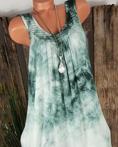Plus Size Tie Dye V Neck Sleeveless Midi Dress