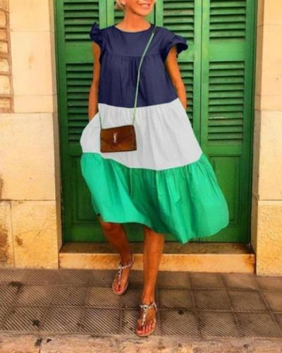 Casual Color Block Panel Mini Dress