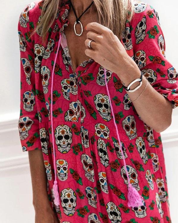 Skull Print Long Sleeves Casual Big Hem Maxi Dresses