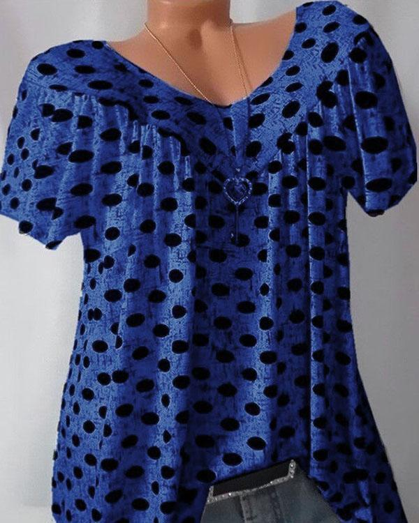 Plus Size Polka Dot Short Sleeve V Neck Blouses for Women