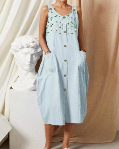 Casual Blue Loose Print Button Sleeveless Midi Dress with Pockets