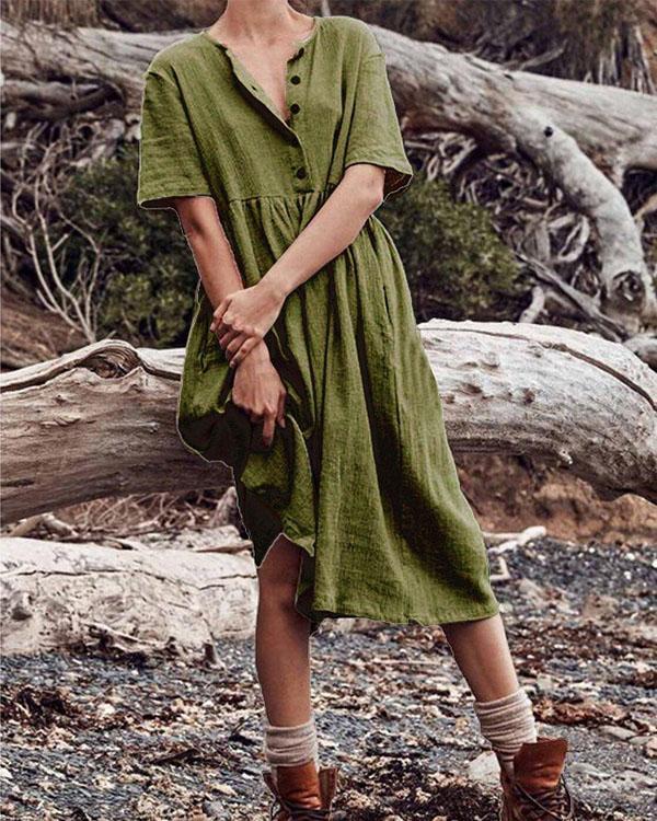 Boho Cotton Linen Dress Women Women's Solid Short Sleeve Button Dress