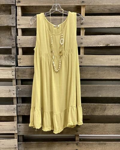 Women Daytime Casual Solid Sleeveless Dress