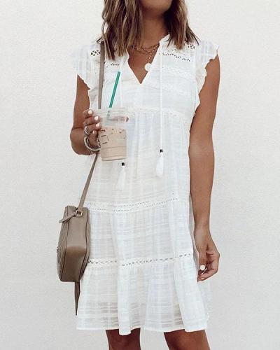 Comfy Cotton White Ruffle Patchwork Hollow Mini Dress