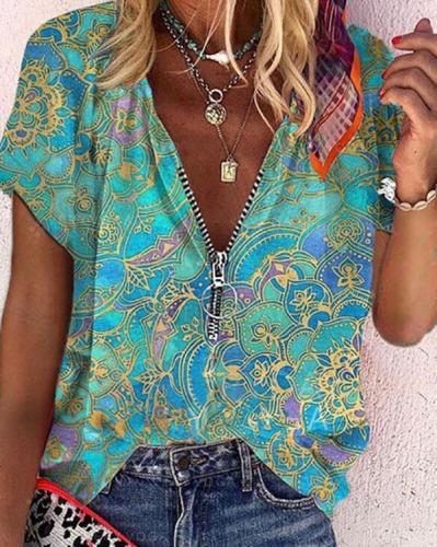 Women's Print Boho Zipper V-neck Shirt&Top