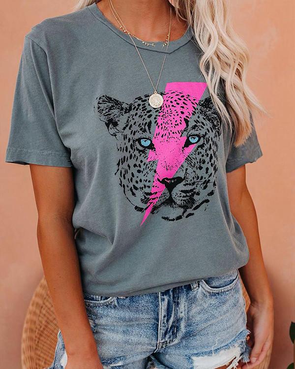 Lightning Bolt & Tiger Print Hole T-Shirt