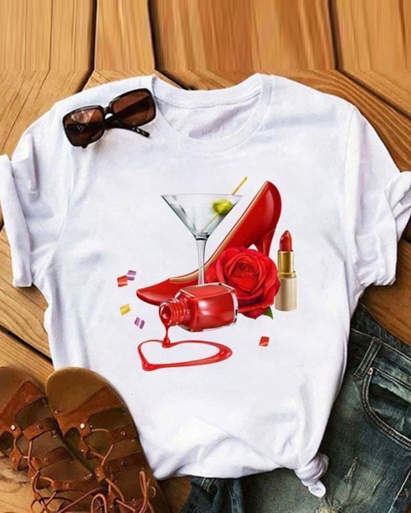 Cute White T-shirt Short Sleeve Tops Casual Teen Shirts