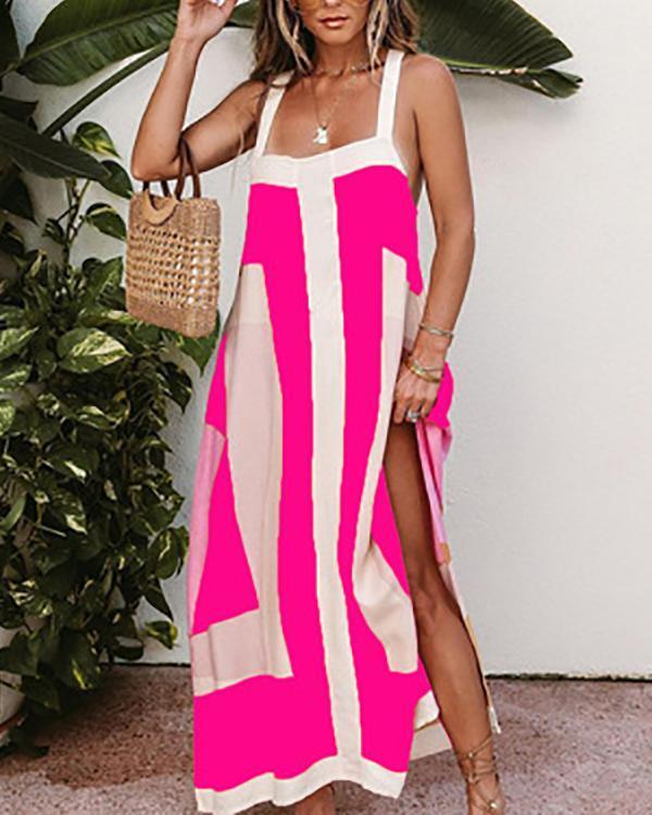 Colorblock Thick Strap Square Neck Split Maxi Dress