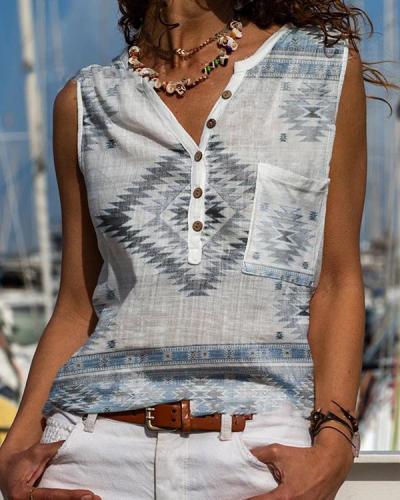 Casual Vintage Geometry Button Neck Boho Tank&Vest