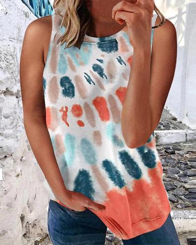 Women Tie Dye Casual Vest