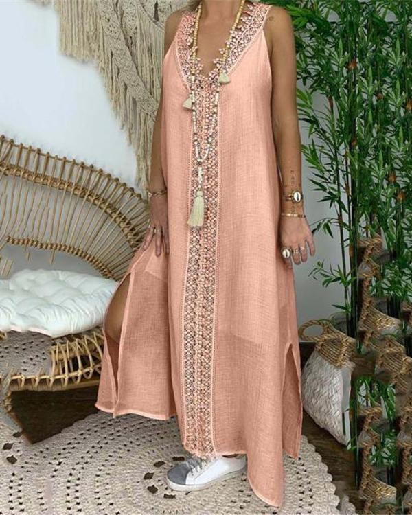 Linen Lace Trim Pure Color Split Maxi Dress
