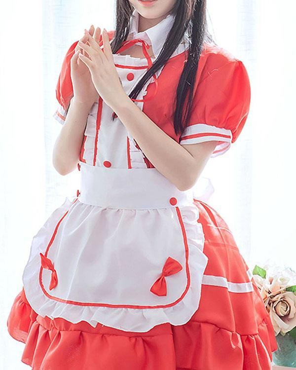 Sexy Maid Cosplay Costume Women French Maid Dress Schoolgirl Outfit Babydoll Dresses