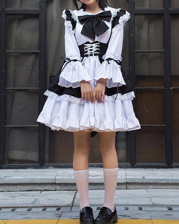 Sexy Maid Cosplay Costume Women French Maid Schoolgirl Outfit Dress