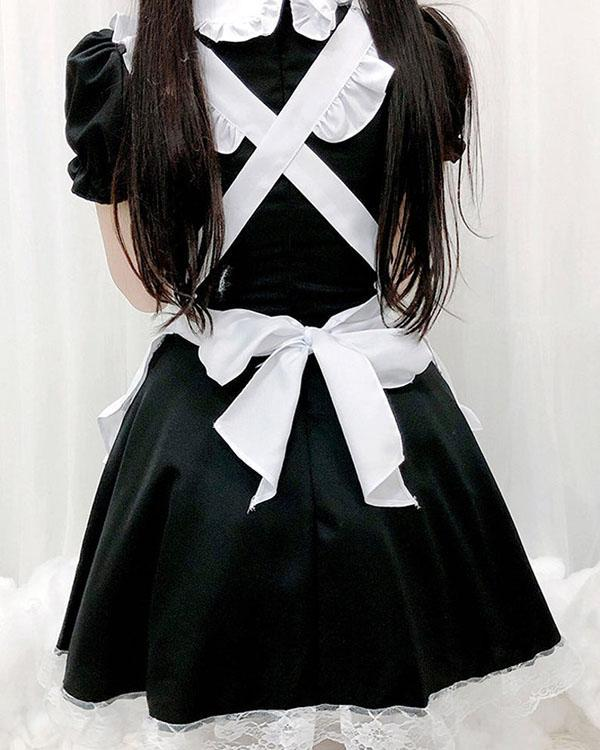 Sexy Maid Cosplay Costume Women French Maid Schoolgirl Outfits Dress