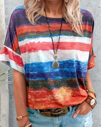 Plus Size Casual Summer Women's Crew Neck Color Stripe T-Shirt