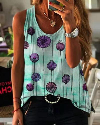 Round Neck Sleeveless Dandelion Print Vest