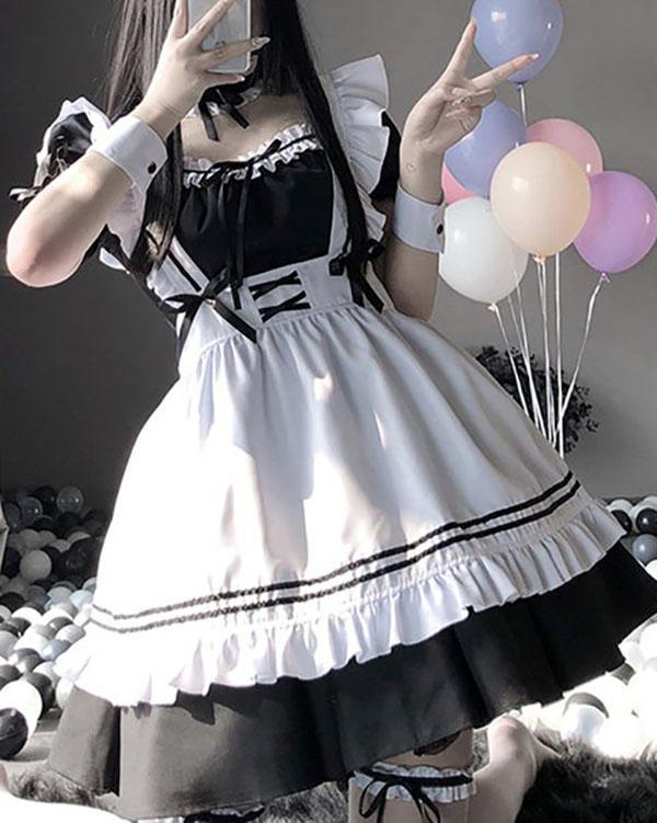 Sexy Maid Cosplay Costume Women Fetish Lingerie Schoolgirl Babydoll Dress