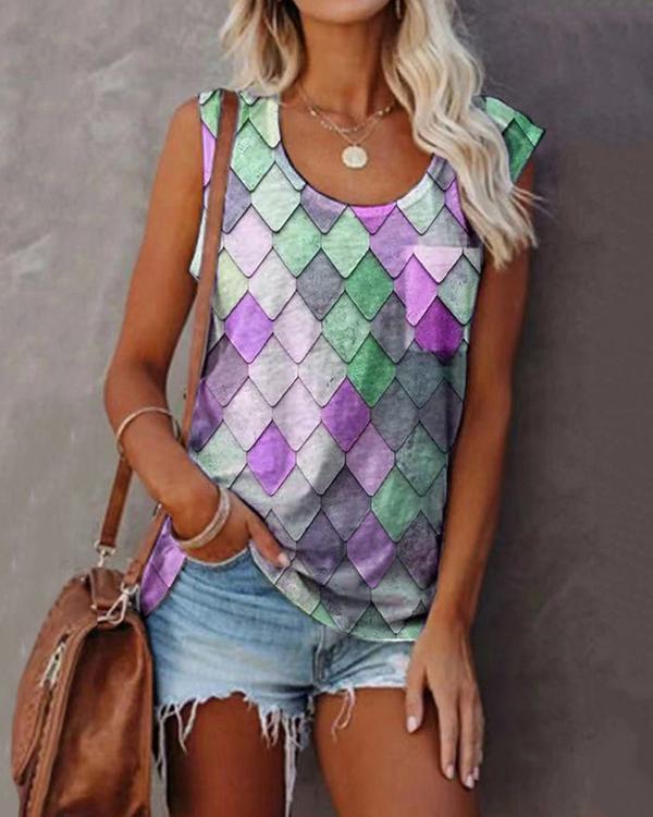 Women's Sleeveless Scoop Neck Chic Printed Tops T-shirts