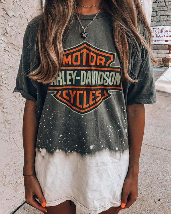 Women's Tie Dye Color Contrast Print Casual T-shirt Top