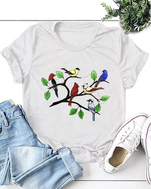 Stained Glass Birds Print Birds T-shirt