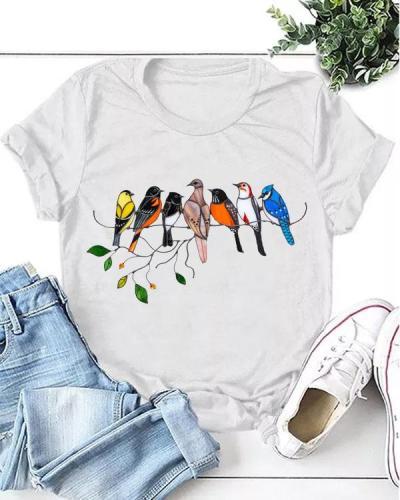 Women Print Birds Daily T-shirt
