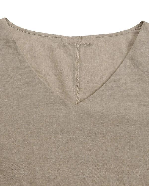 Womens Full Sleeve V Neck Jumper Long Shirts Tunic Pleaed Loose Dress