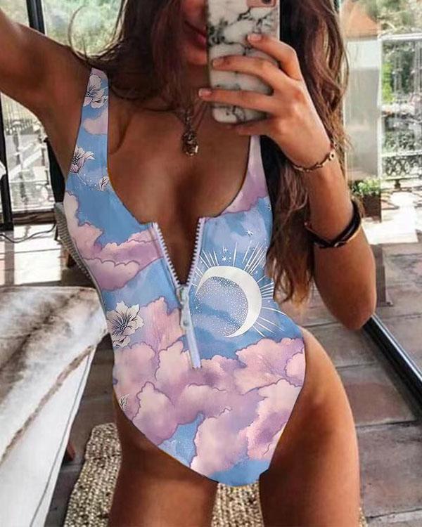 Women Print Front Zipper One Piece Swimsuit