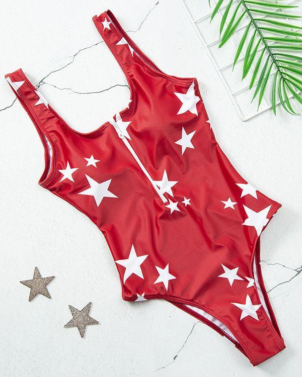 Dot/Star/Fruit Print Front Zipper One Piece Women's Swimsuit