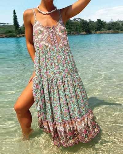 Women's Bohemian Print Button Cami Dress
