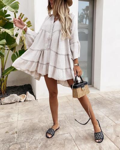 Casual Cotton Blend V-Neck Dresses