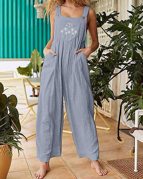 Womens Dandelion Pleated Wide Leg Jumpsuit Overalls