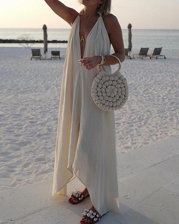 Irregular Halter Neck Sleeveless Pure Color Vacation Dress