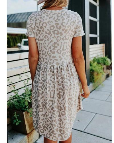 Crew Collar Leopard-print A-line Dress