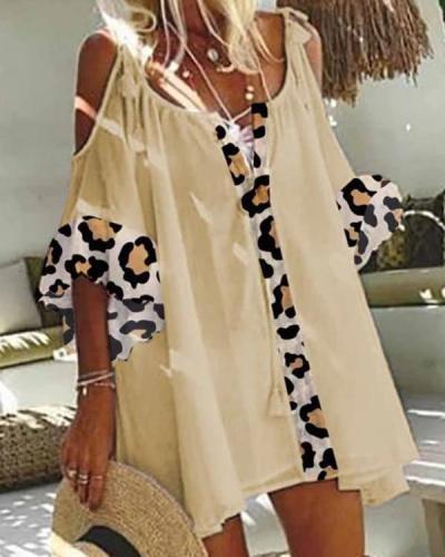 Casual Cotton Blend Leopard Print Short Sleeve Dresses