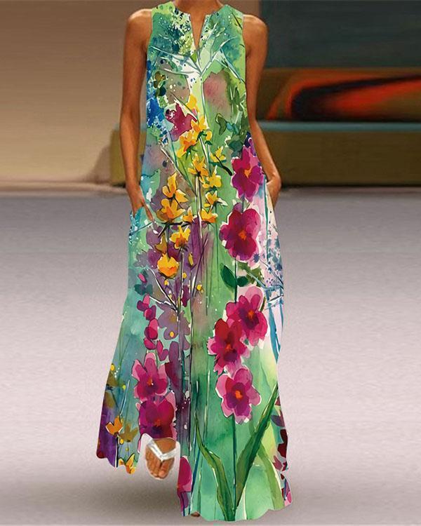 Women Sleeveless V-neck Loose Print Long Dress