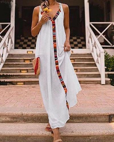 Stripe Patchwork Sleeveless Vacation Maxi Dress
