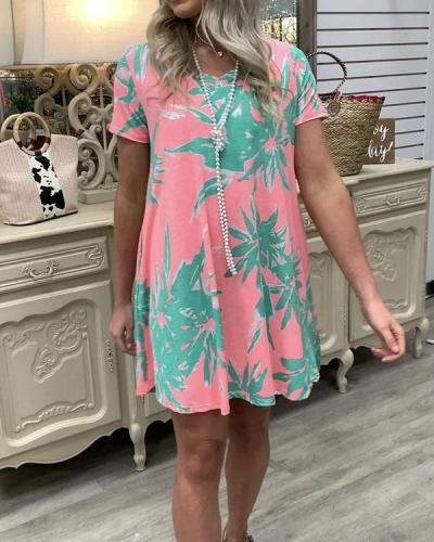 V-neck Print Loose Mini Dresses