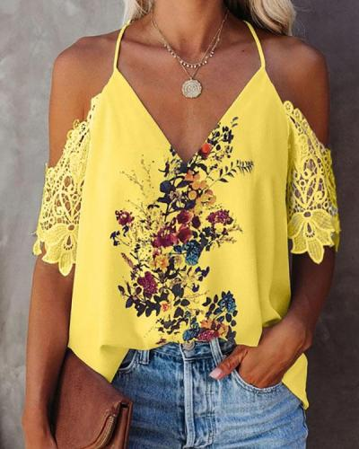 Lace V-neck Open Back Floral Print Top Chiffon Shirt